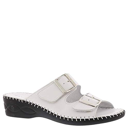 David Tate Womens Rudy Leather Open Toe Casual Slide Sandals, White, Size 6.0 ()