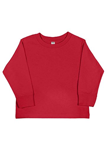 Rabbit Skins 100% Cotton Blank Toddler Long Sleeve Cotton Tee [Size 2T] Red Long Sleeve T-Shirt