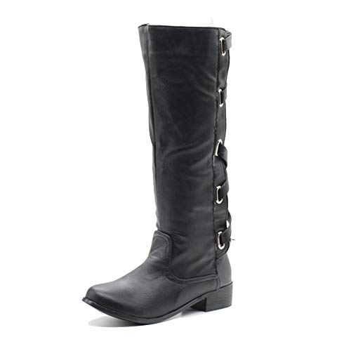 DecoStain Women's Mature Concise Strap Buckle Belt Strap Zip Pointed Toe Comfort Knee High Boots 3cm Black