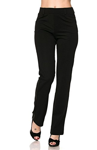 - 2LUV Women's Stretch Solid Front Pocket Pull On Dress Pants with Belt Loop Black M