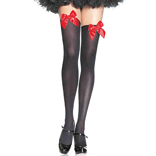 Christmas Thigh High Stockings (Leg Avenue Women's Opaque Thigh High with Satin)