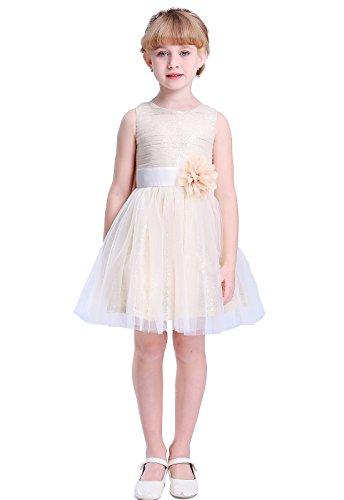Bow Dream Flower Girl's Dress Short Sequins Tulle Gold 2T
