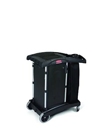 Rubbermaid Commercial Executive Series FG9T7700BLA High-Security, Ultra Compact, Turndown Housekeeping Cart, Black