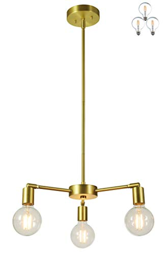 XiNBEi Lighting 3 Light Chandelier, Pendant Lighting with LED Bulbs, Satin Brass Finish - Chandeliers Finish Brass Satin