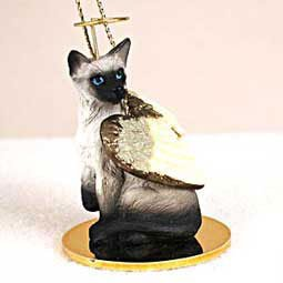 (CAT SIAMESE MINIATURE Angel Christmas Ornament NEW CTA18)