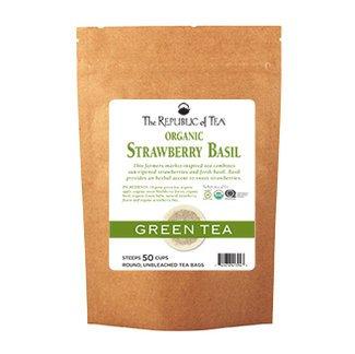 - The Republic Of Tea Organic Strawberry Basil Green Tea, 50 Tea Bags (Refill Bag)