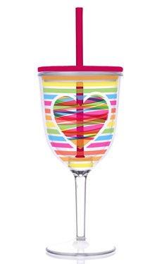 Slant Valentine Bright Rainbow Heart 13-oz Double-Wall Wine Glass with Straw (Set of 2)