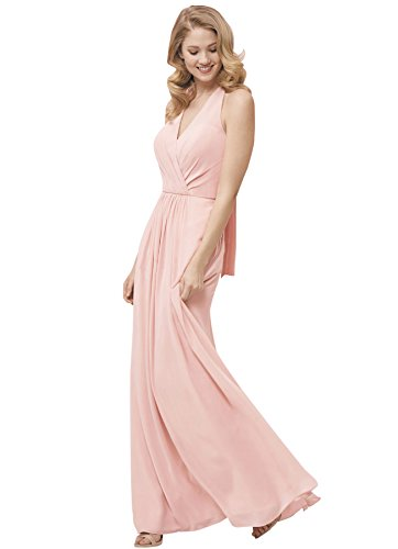 b7208b8cc43 ... Sexy V-Neck Halter Open Back Long Bridesmaid Dress Chiffon Beach  Wedding Evening Gown Blush Size 2.   