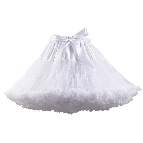 - XinChangShangMao Women's Soft Chiffon Petticoat Tutu Skirt White