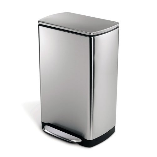simplehuman Wide-Step Rectangular Step Trash Can, Stainless Steel, 38 L / 10 Gal