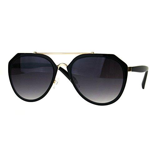 Luxury Metal Rim Gradient Lens Luxury Pilots Designer Sunglasses Black Smoke (58mm Pilots)
