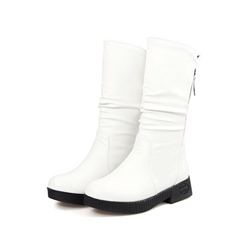 Material Heels On Soft Pull Round Low White Toe Closed AmoonyFashion Boots Women's n1TBE