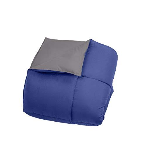 All Season Light - Bien Living All-Season 3 Piece Reversible Down Alternative Box Quilted Comforter Microfiber Duvet Set - Ultra Soft Lightweight - Hotel Quality - Navy/Graphite - King/Cal King