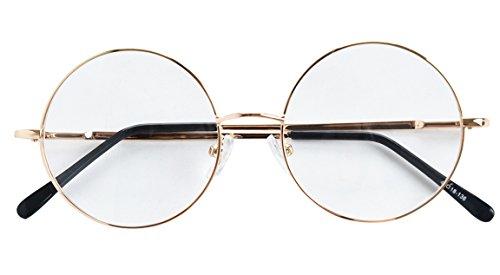 Bestum Retro Round Optical Spring Hinge Metal Glasses Frame Clear lens (Gold, 49mm (large - Glasses Metal Optical Round