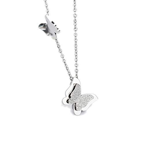 - Houlife Classic Beautiful Double Butterfly Pendant Necklace High Polished Stainless Steel Simple Jewelry for Women Men Girls Silver Plated, Gold Plated, Rose Gold Plated