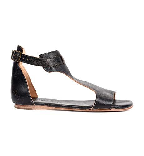 Bed|Stu Women's Sable Flat Sandal, Black Hand Wash, 7 M US