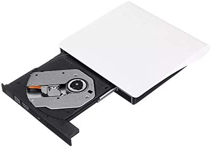 光学ドライブ CDライター/DVDプレーヤー、ノートPCのUSB 3.0ポータブルスリム外付けDVD-RWを再生するCD-ROMドライブ 静音 高速 軽量 コンパクト スリム (Color : White, Size : One size)