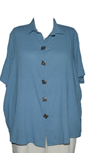 Plus Size WeBeBop Crinkle Cotton Blue Del Mar Tunic (5X Bust/Hip 72/72 Length 37) Crinkle Cotton Big Shirt