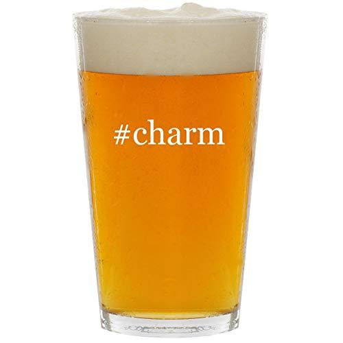 - #charm - Glass Hashtag 16oz Beer Pint