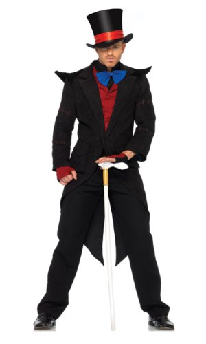 Leg Avenue Men's 6 Piece Evil Mad Hatter Costume, Black/Burgundy, X-Large -