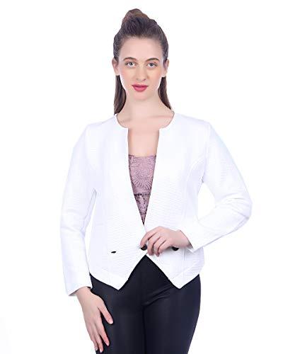 Zelica Women's Slim Fit Solid Fleece Button in Front Full Sleeve Formal & Office Wear Coat Blazer