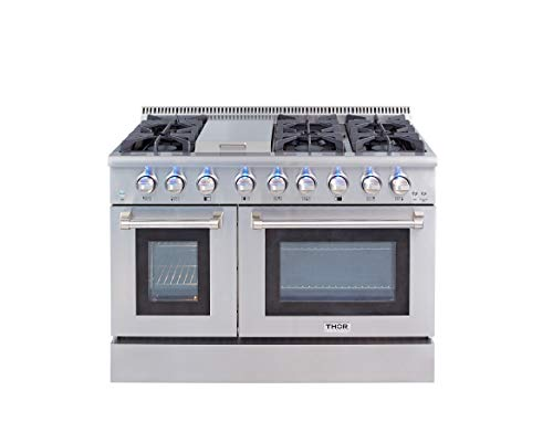 Thor Kitchen 48″ Gas Range 6.7 cu. ft. Free standing Pro-style Dual Fuel Range with convection oven and infrared griddle in stainless steel HRD4803U
