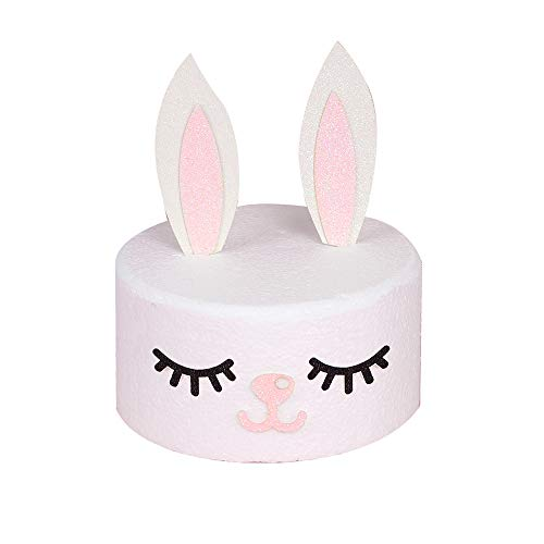 Bunny Rabbit Ears Cake Topper Set Including Bunny Ears Eyelashes and Nose For Girls Kids Birthday Easter Cake Decoration