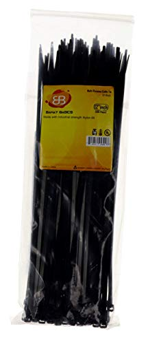 Heavy Duty Nylon Zip Ties 50 LB Tensile Strength | Nylon Plastic Zip Straps for Cable/Wire Management, Baggage Sealing - Indoor and Outdoor UV Resistant - 100 Straps Set (Black) (12 in)