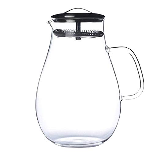 LARRY SHELL 2L Large Capacity Glass Pitcher Drink Water Juice Tea Milk Beverage Jug Pitcher Bottle with Filter Stainless Steel Lid for Homemade Juice Iced ()