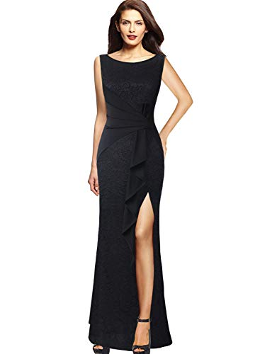 Length Neck High - VFSHOW Womens Ruched Ruffle Lace High Split Formal Evening Party Maxi Dress 857 BLK XXL