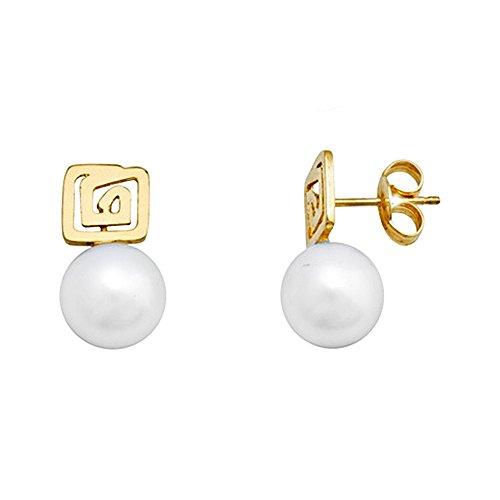 Boucled'oreille or 18k boîte de perles de culture labyrinthe [AA6090]