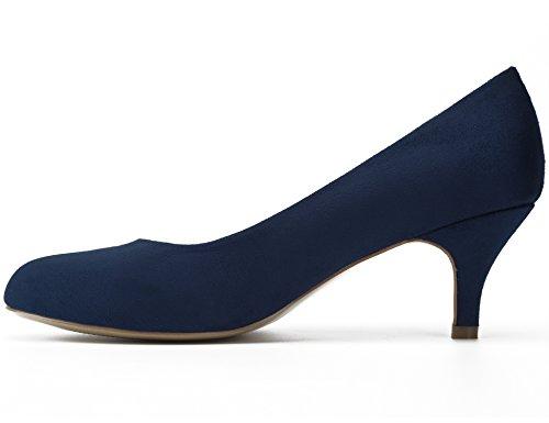 Heels Pumps Suede Slip MaxMuxun On Round Blue Women Shoes Toe Kitten Dress 6xw07ZFq