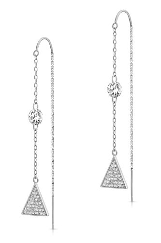 925 Sterling Silver Triangle Threader Drop Earrings with Cubic Zirconia Sterling-Silver