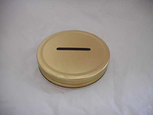 Wide Mouth Mason Jar Coin Slot Lid - One-Piece Gold - Single Pack Choice