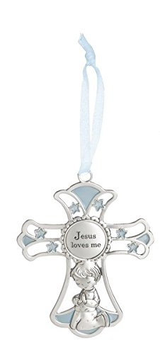 Ganz 4'' Ornate Baby Crib Cross Decor with Ribbon for Hanging (Jesus Loves Me - Blue) (Ornate Charm)