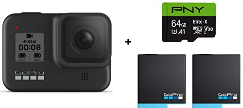 GoPro HERO8 Black Waterproof Action Camera with Touch Screen 4K Ultra HD Video 12MP Photos 1080p Live with Accessory Bundle - 2 Total GoPro USA Batteries + PNY 64GB U3 microSDHC Card