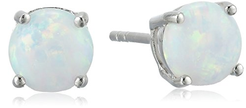 Sterling Silver Created Opal Stud - Natural Opal Earrings Stud