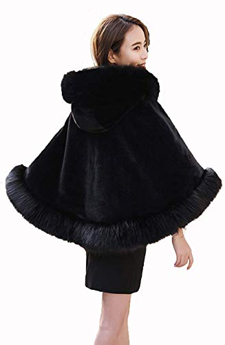Fashion Stola Donna In Poncho Schwarz Incappucci Sintetica Eleganti Pelliccia Z1BqIv