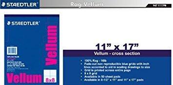 Staedtler Paper 100% Rag Vellum, 8 x 8 Grid, 11'' x 17'', 50-Sheet Pad