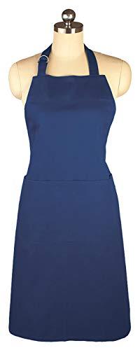 MU Kitchen Adjustable Cotton Herringbone Weave Apron, 35-Inches, Ink Blue