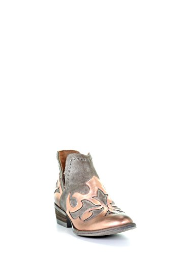 dpainted Overlay Round Toe Leather Shortie Cowboy Boots - Copper ()