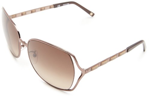 Escada Sunglasses SES803-300X Oversized Sunglasses,Gold & White Leather,60 mm Escada Leather