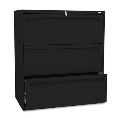 700 Series Lateral File - 700 Series Three-Drawer Lateral File, 36w x 19-1/4d, Black, Sold as 1 Each