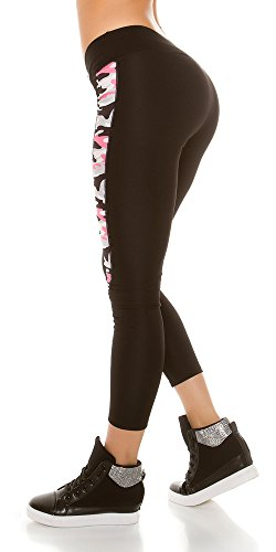 Trendy Workout Leggings mit Camouflage Muster, Yogahose, Farbe: Neon Fuchsia, Gr.: 34