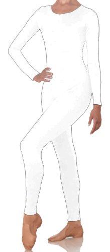 DanceNwear Cotton Blend (Cotton/lycra) Adult Scoop Neck Long Sleeve Footless Unitard (LARGE, White)