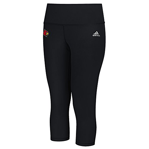 NCAA Louisville Cardinals Logo Performer Climalite Mid Rise 3/4 Tight Pants, Small, Black