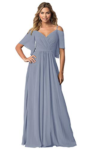 KKarine A Line Cap Sleeveless Spaghetti Strap Bridesmaid Dresses Dusty Blue Ruched Chiffon Long Formal Gown Plus Size 18W