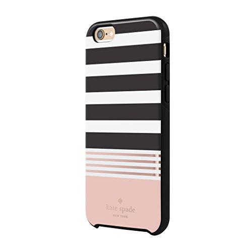 Kate Spade iPhone 6/6S Hybrid Hardshell Case - Stripe 2 (Black/White/Rose Gold Foil)