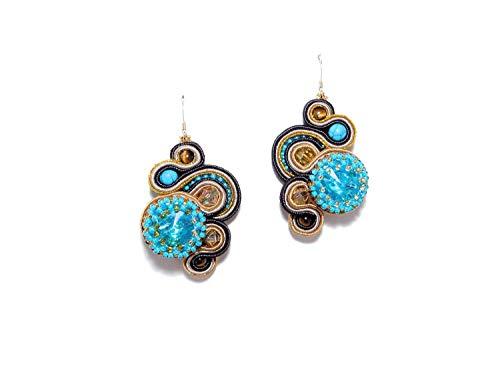 - Soutache Earrings with Czech Rhinestones, Turquoise, Tiger Eye, Gold-Filled Earwire. Freeform Long Earrings. Brown Gold Aqua Dangle Earrings. Bridesmaid Wedding Jewelry