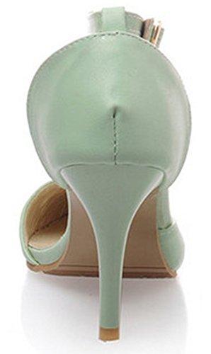Idifu Womens Dressy Cinturino Alla Caviglia Fibbia Punta A Punta Pompe Stiletto Tacchi Alti Sandali Verdi